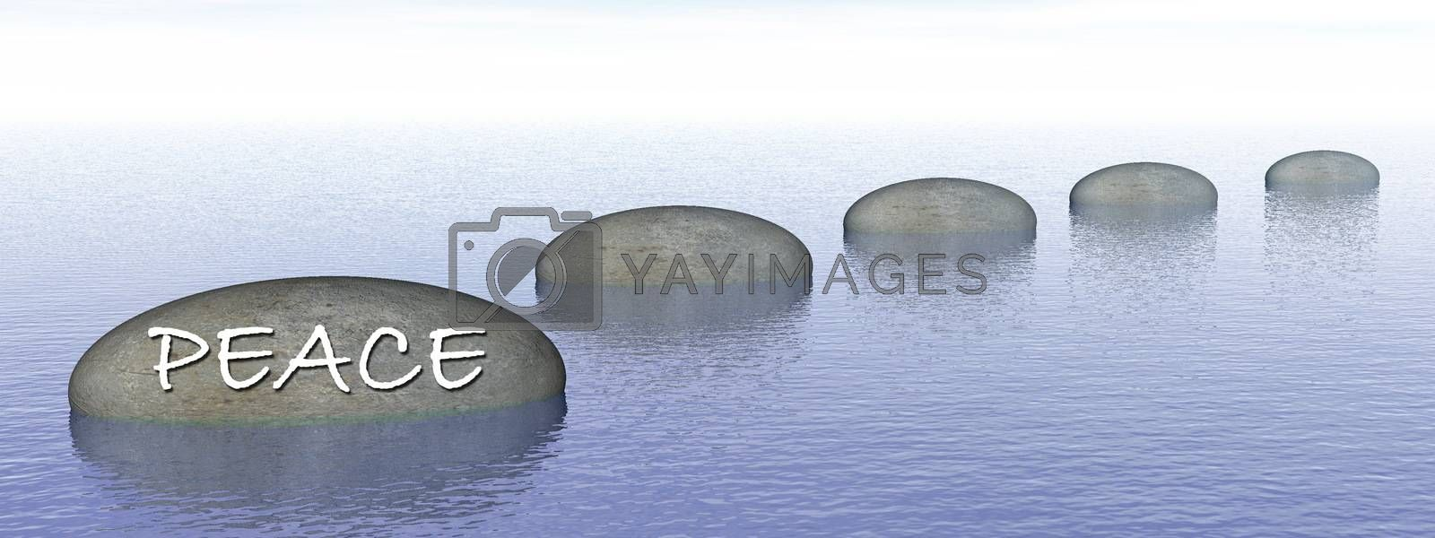 Peace word written on on grey stones, steps upon the ocean - 3D render