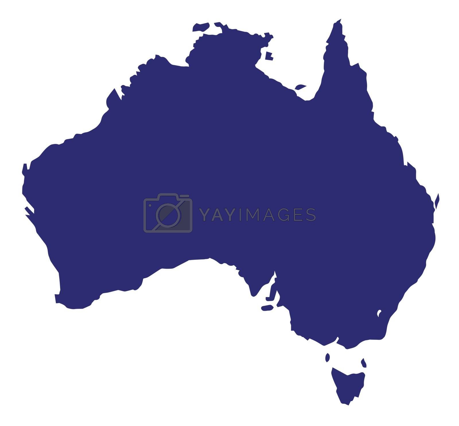 Silhouette map of Australia over a white background