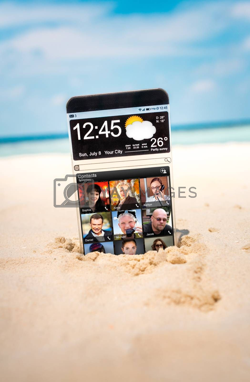 Futuristic Smart phone (phablet) with a transparent display in the sand on the beach. Concept actual future innovative ideas and best technologies humanity.