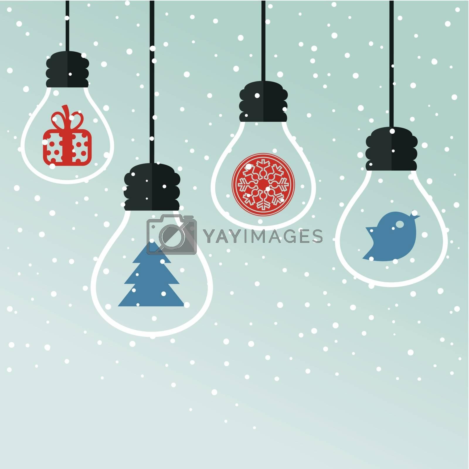light bulbs with Christmas toys