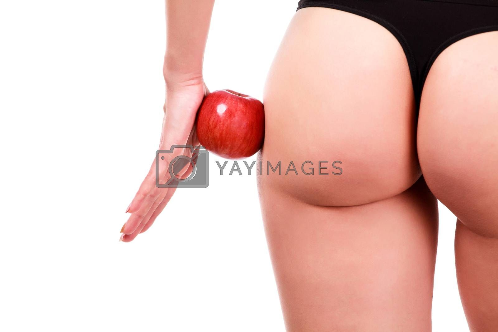 Female shapes and red apple, white background, isolated