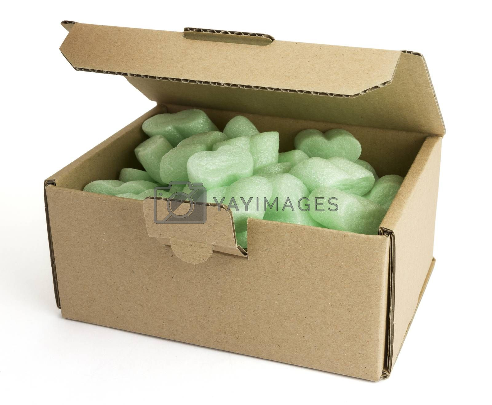 packaging box with green foam isolated on white background
