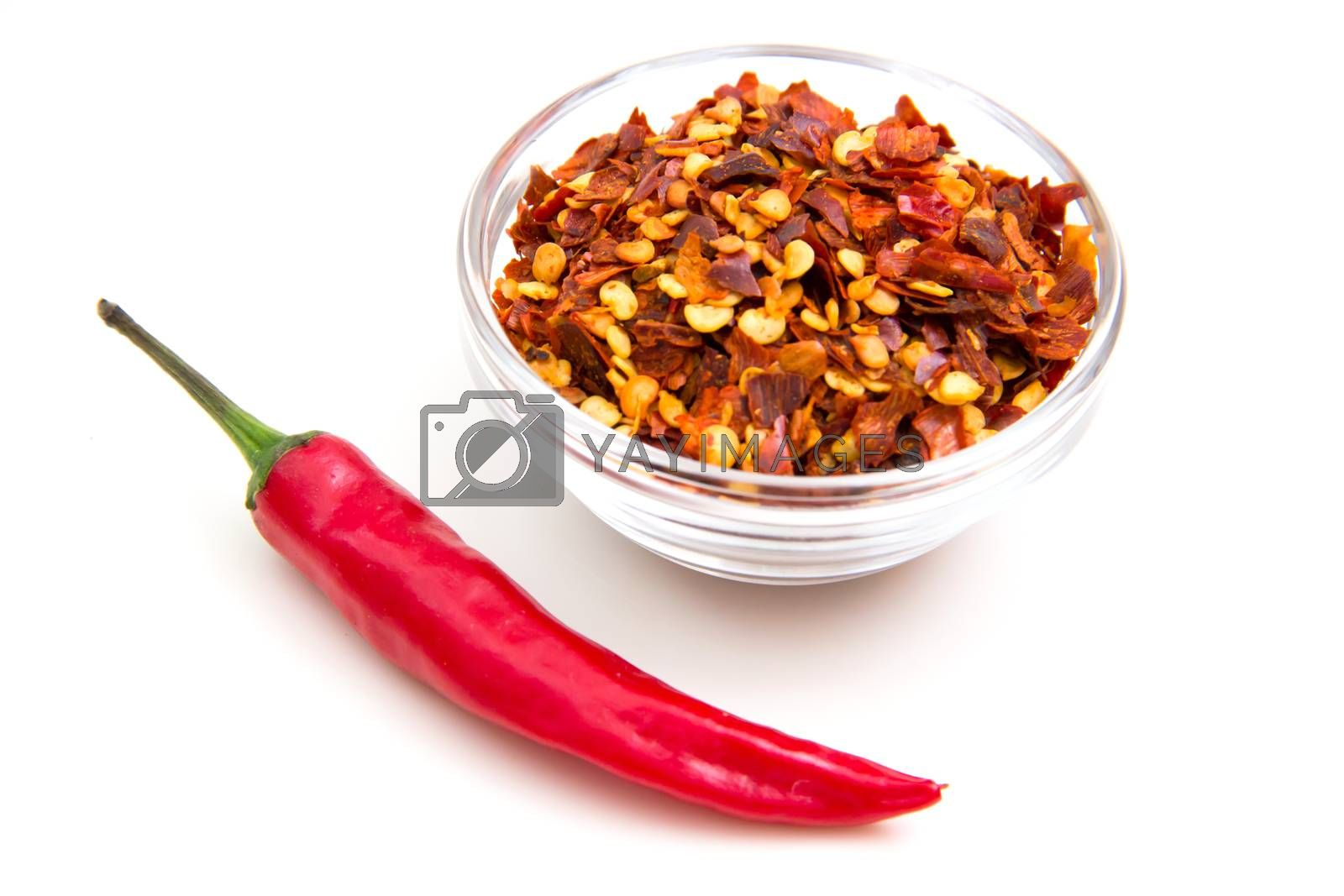 Ground hot pepper on a white background