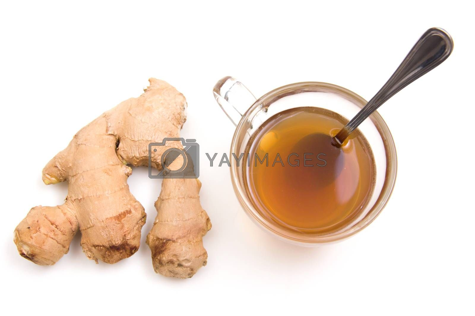 Tea with ginger on a white background seen from above