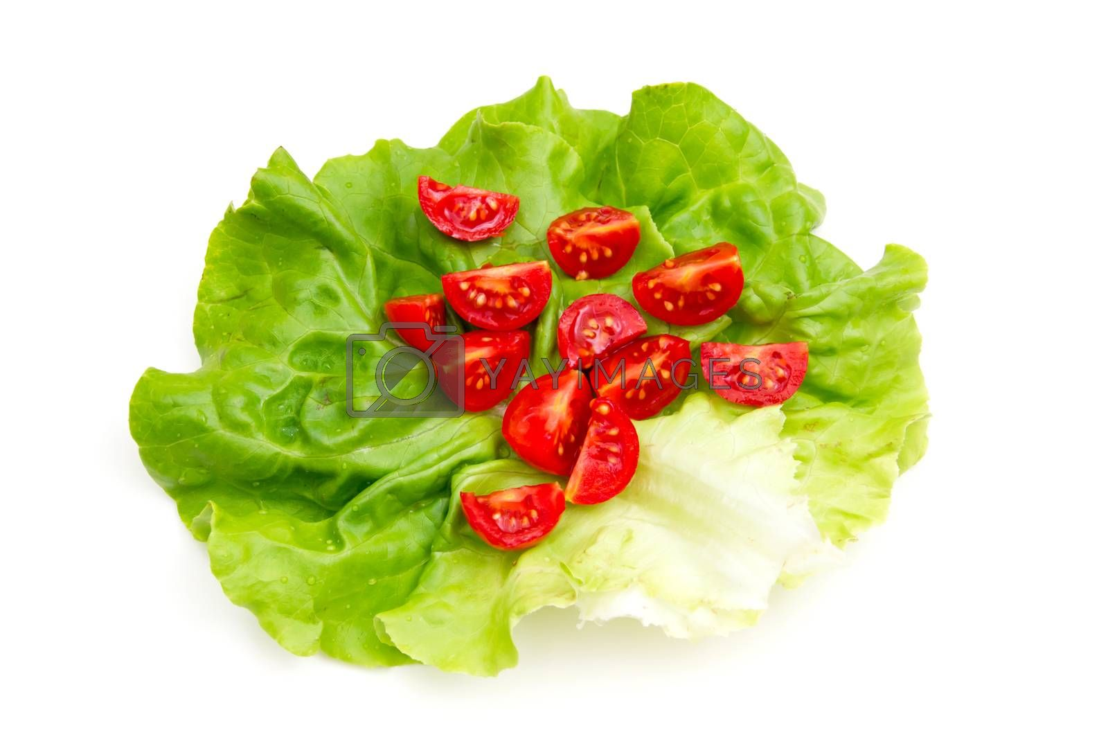 Cherry tomatoes on lettuce on white background