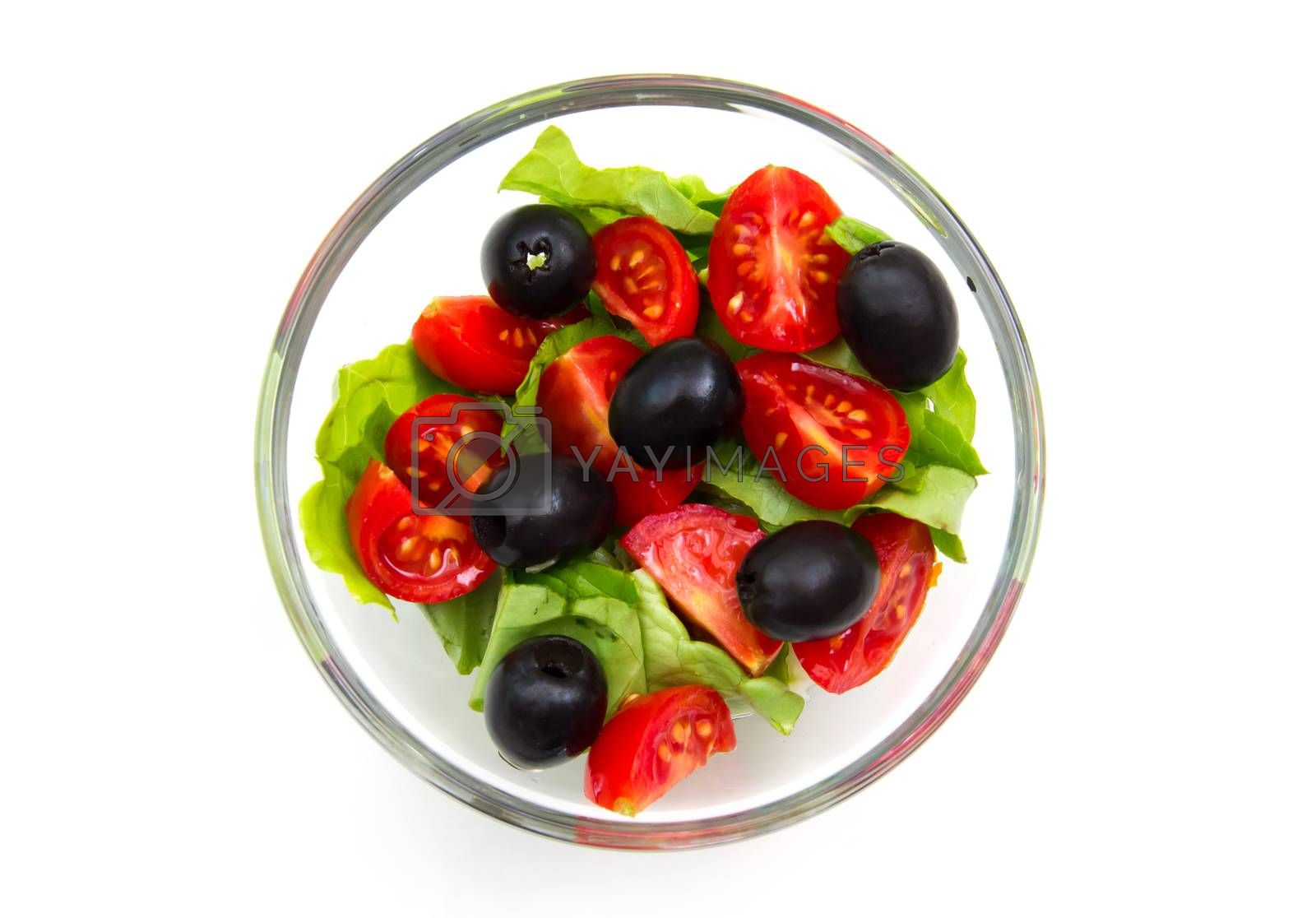 Fresh salad from above on white background
