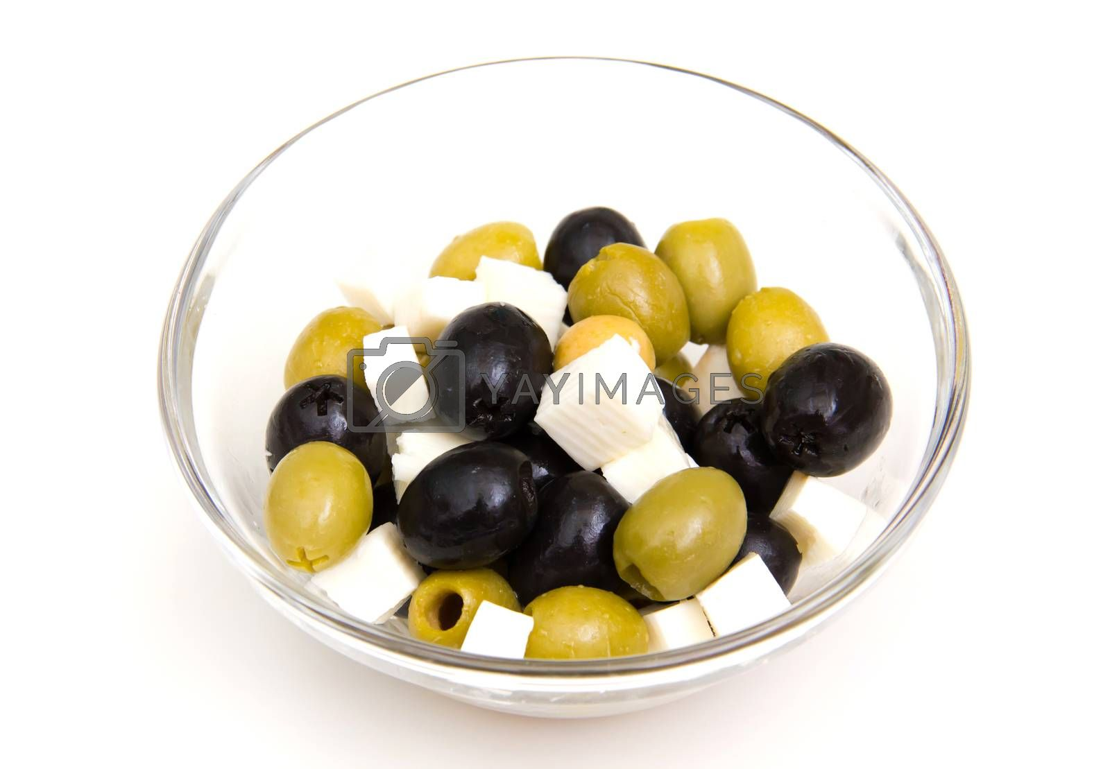 Olives with cheese on bowl on white background