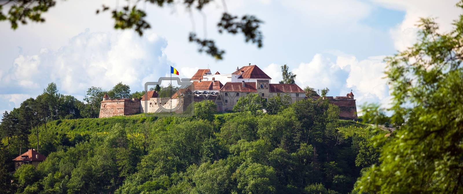 "Brasov, Romania - November 7, 2012: Old fortress ""Cetatuia"" on a sunny summer day, Brasov, Romania"