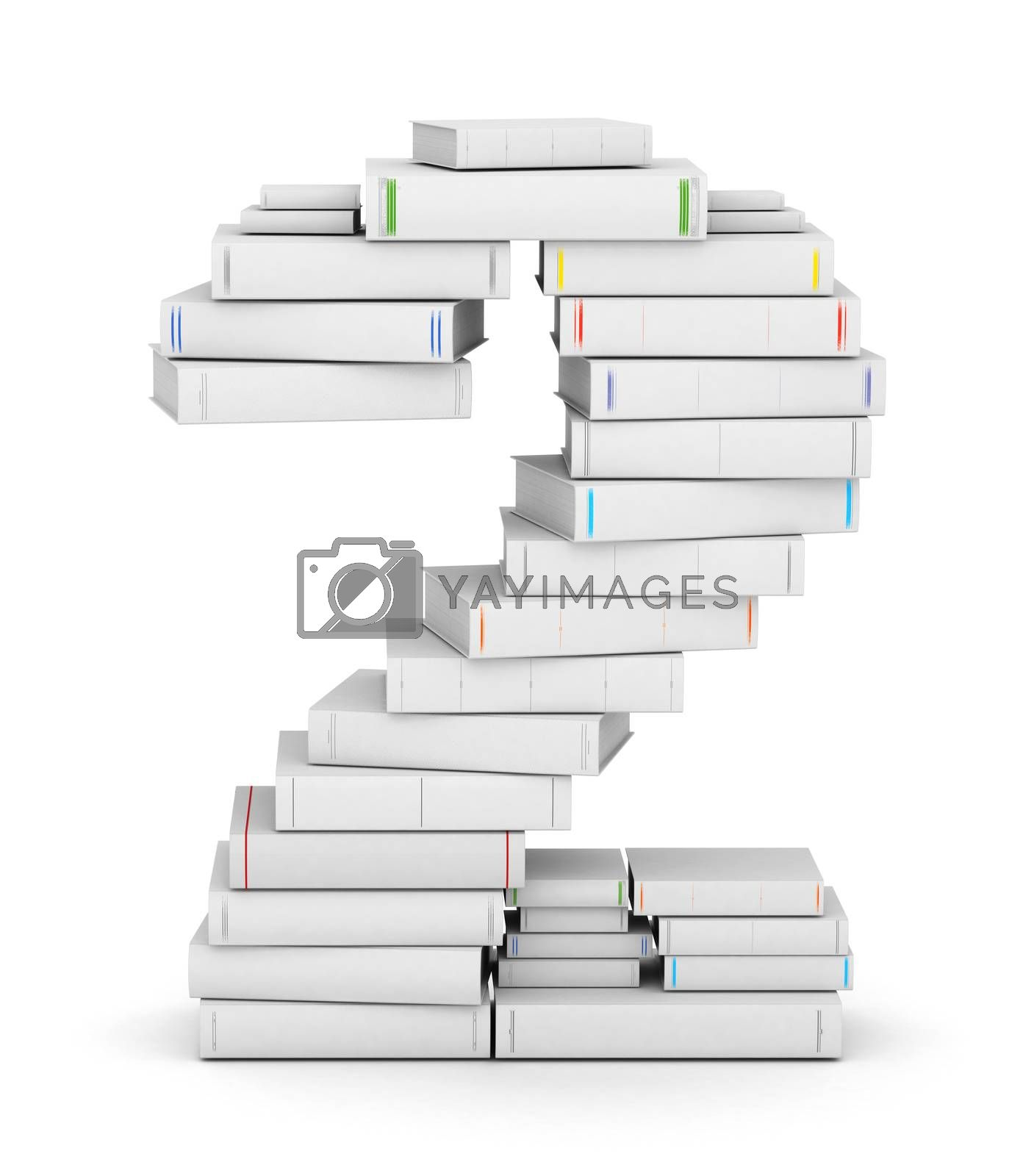 Number 2, stacked from many blank title books in column