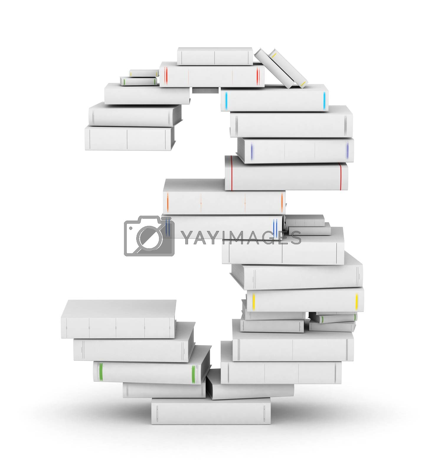 Royalty free image of Number 3, stacked from blank books by iunewind