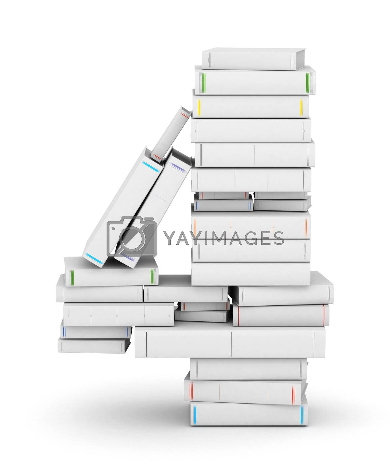 Royalty free image of Number 4, stacked from blank books by iunewind