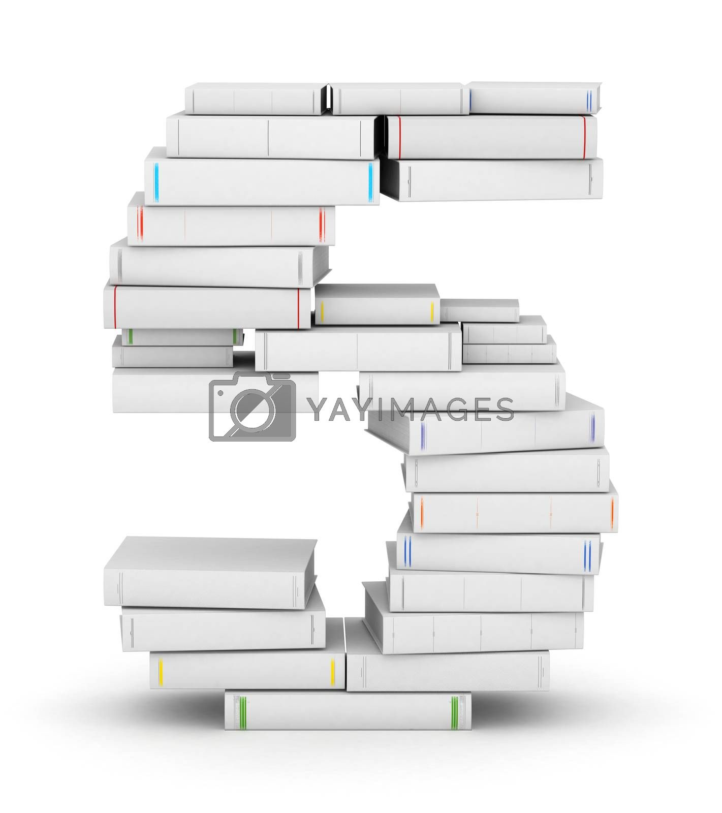 Number 5, stacked from many blank title books in column