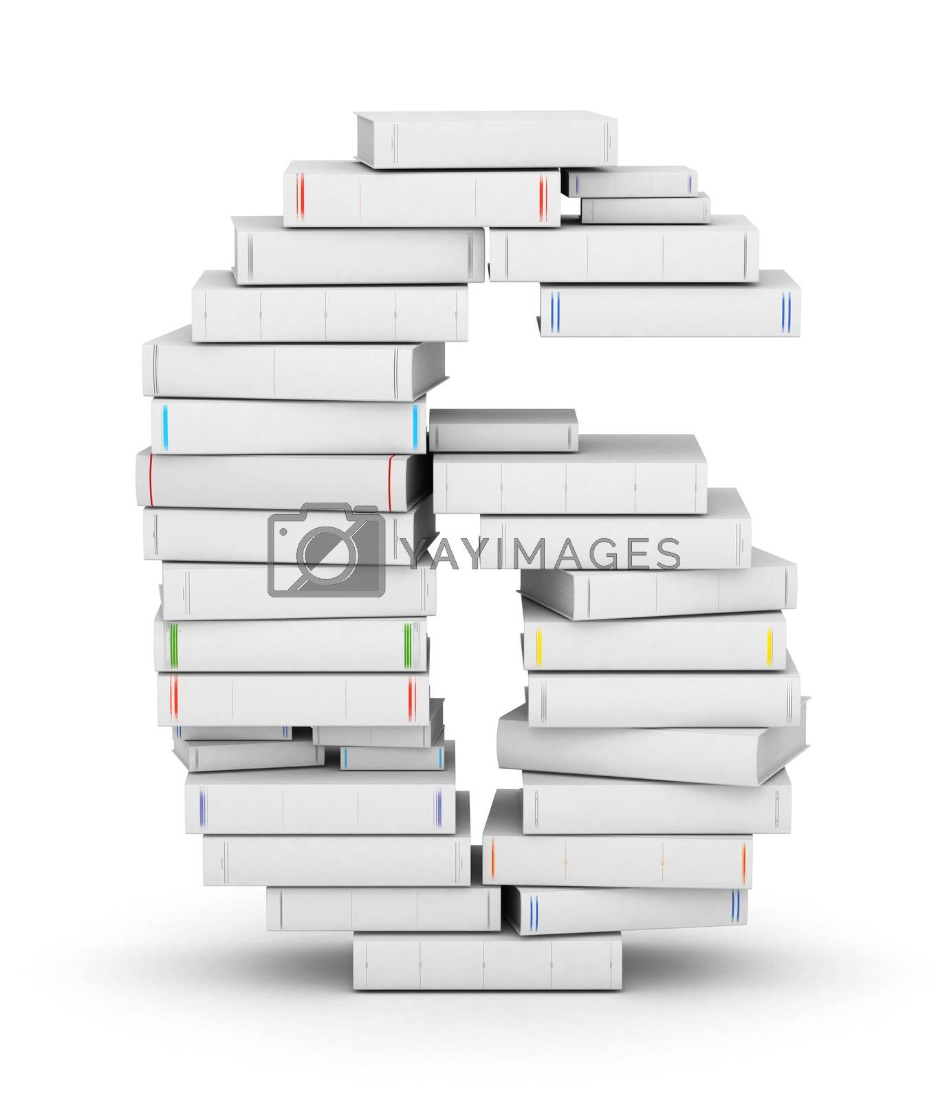 Royalty free image of Number 6, stacked from blank books by iunewind
