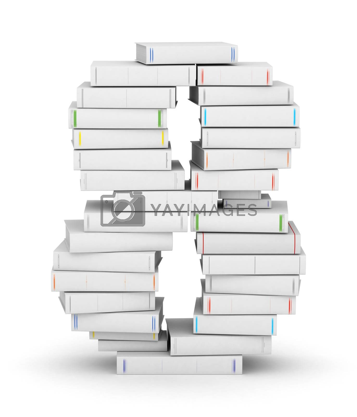 Number 8, stacked from many blank title books in column