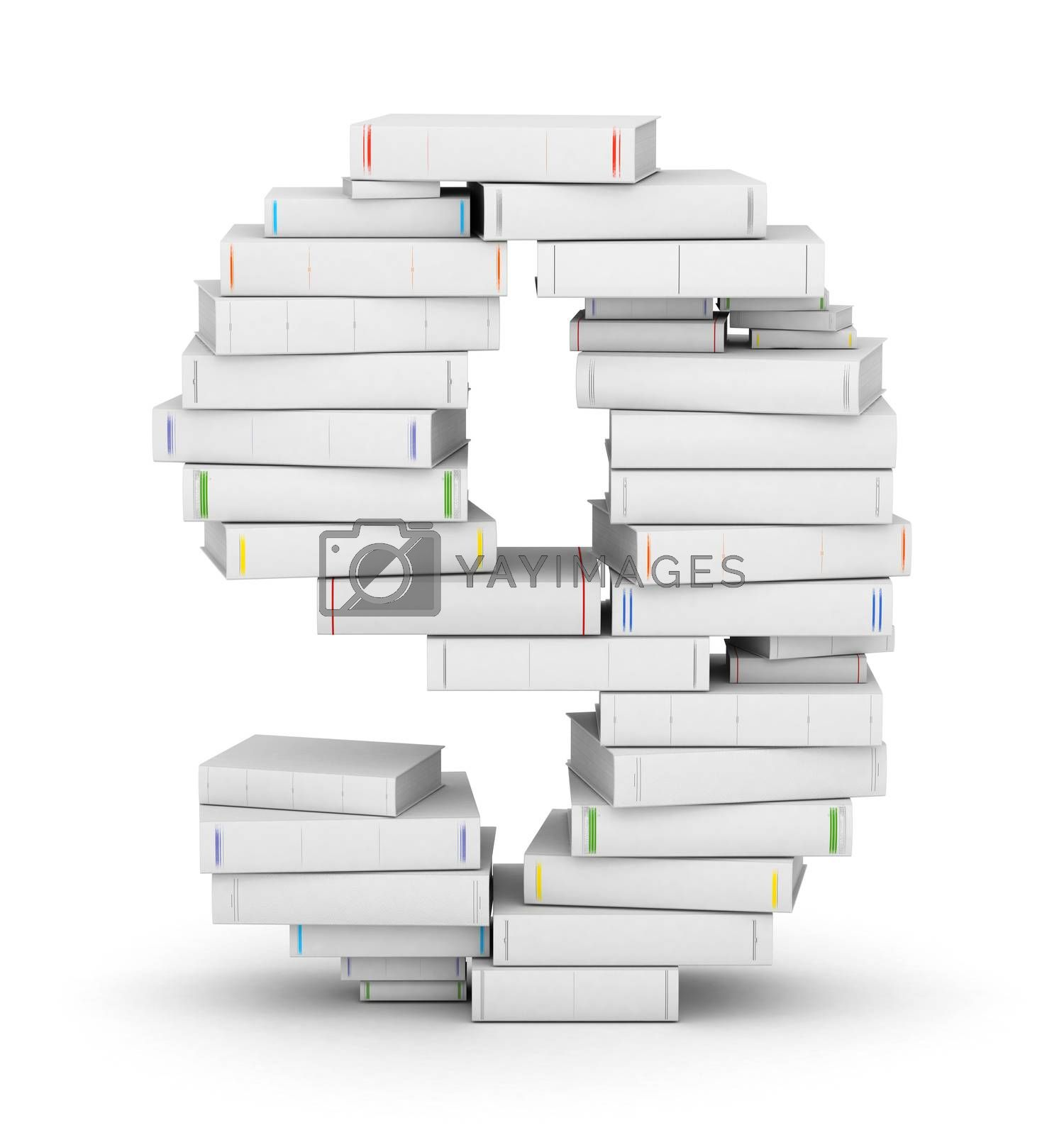 Royalty free image of Number 9, stacked from blank books by iunewind