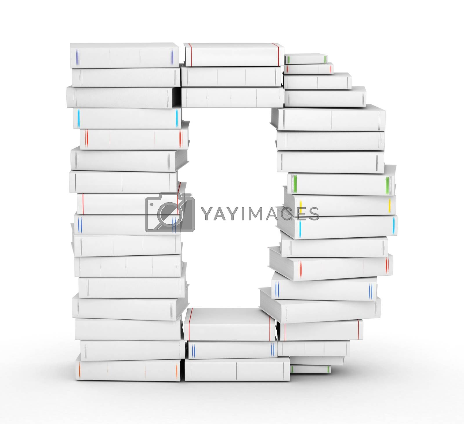 Letter D, stacked from many blank title books in column