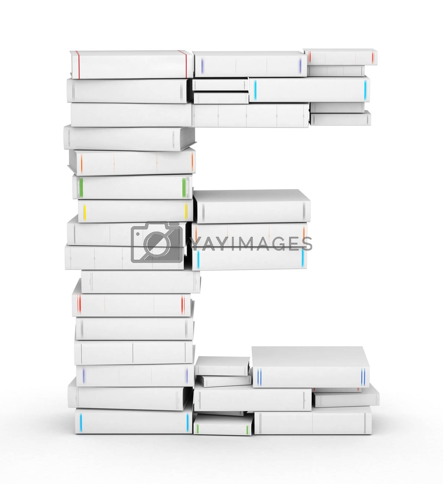 Royalty free image of Letter E, stacked from blank books by iunewind
