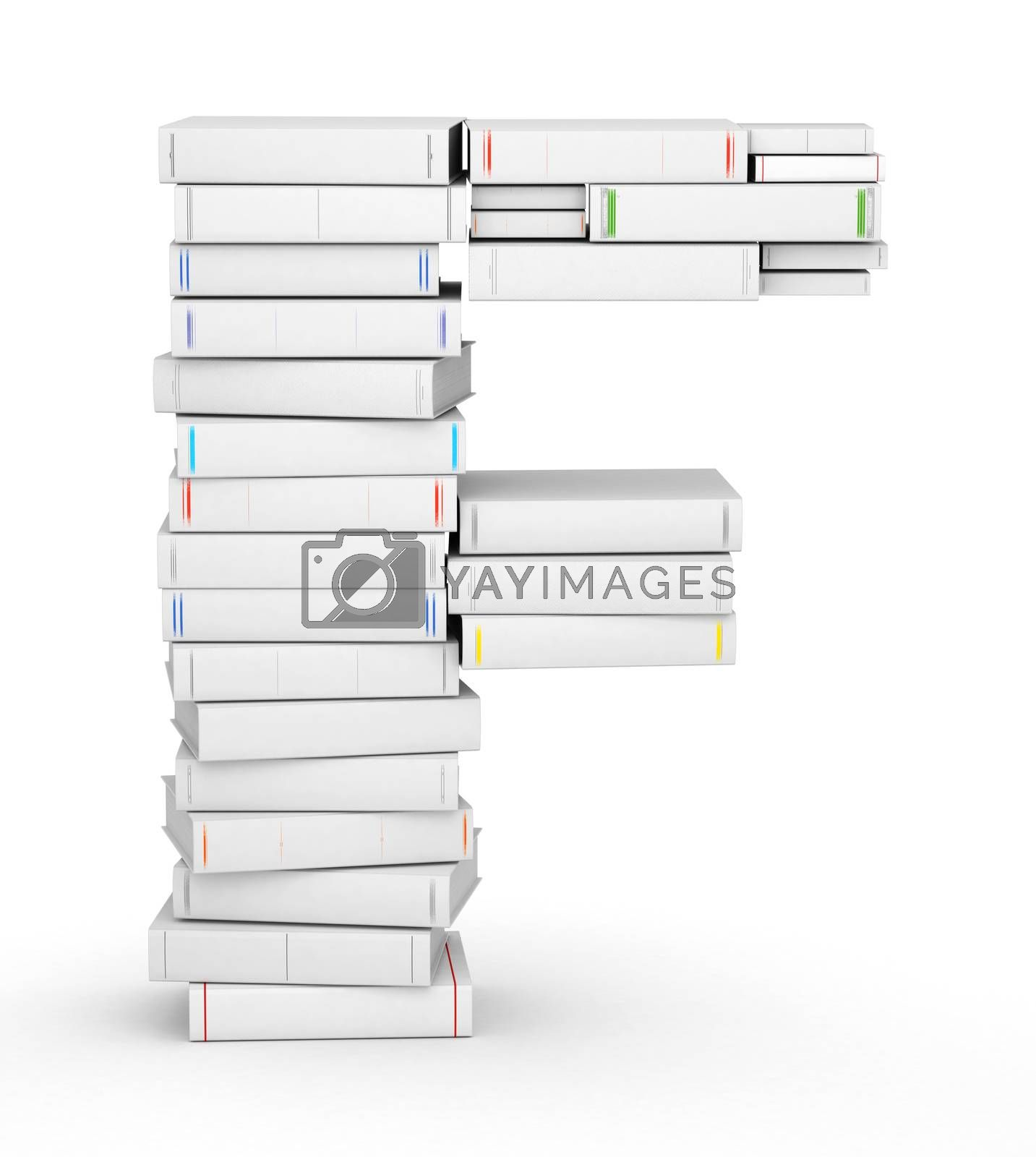 Royalty free image of Letter F, stacked from blank books by iunewind
