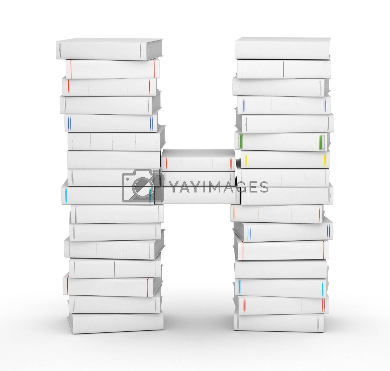 Royalty free image of Letter H, stacked from blank books by iunewind