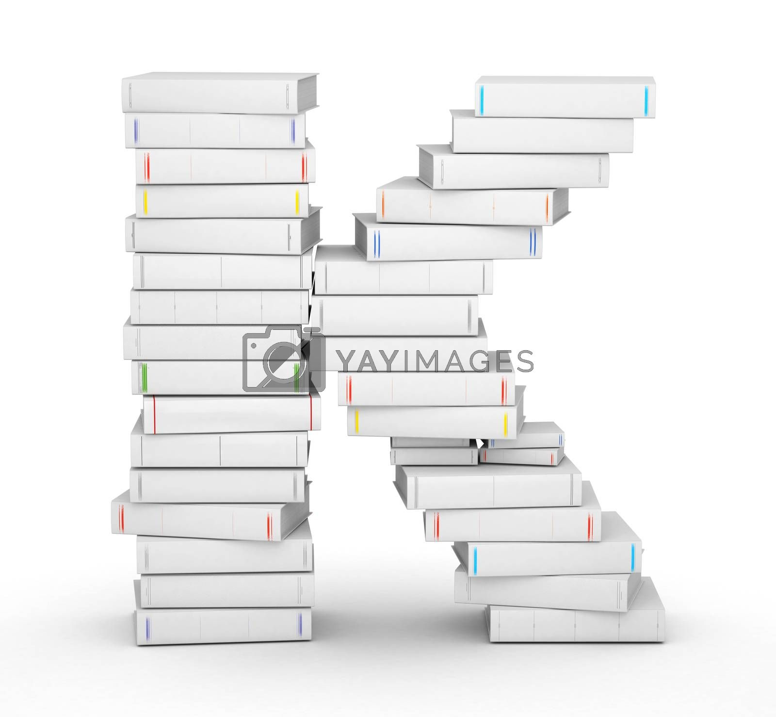 Royalty free image of Letter K, stacked from blank books by iunewind