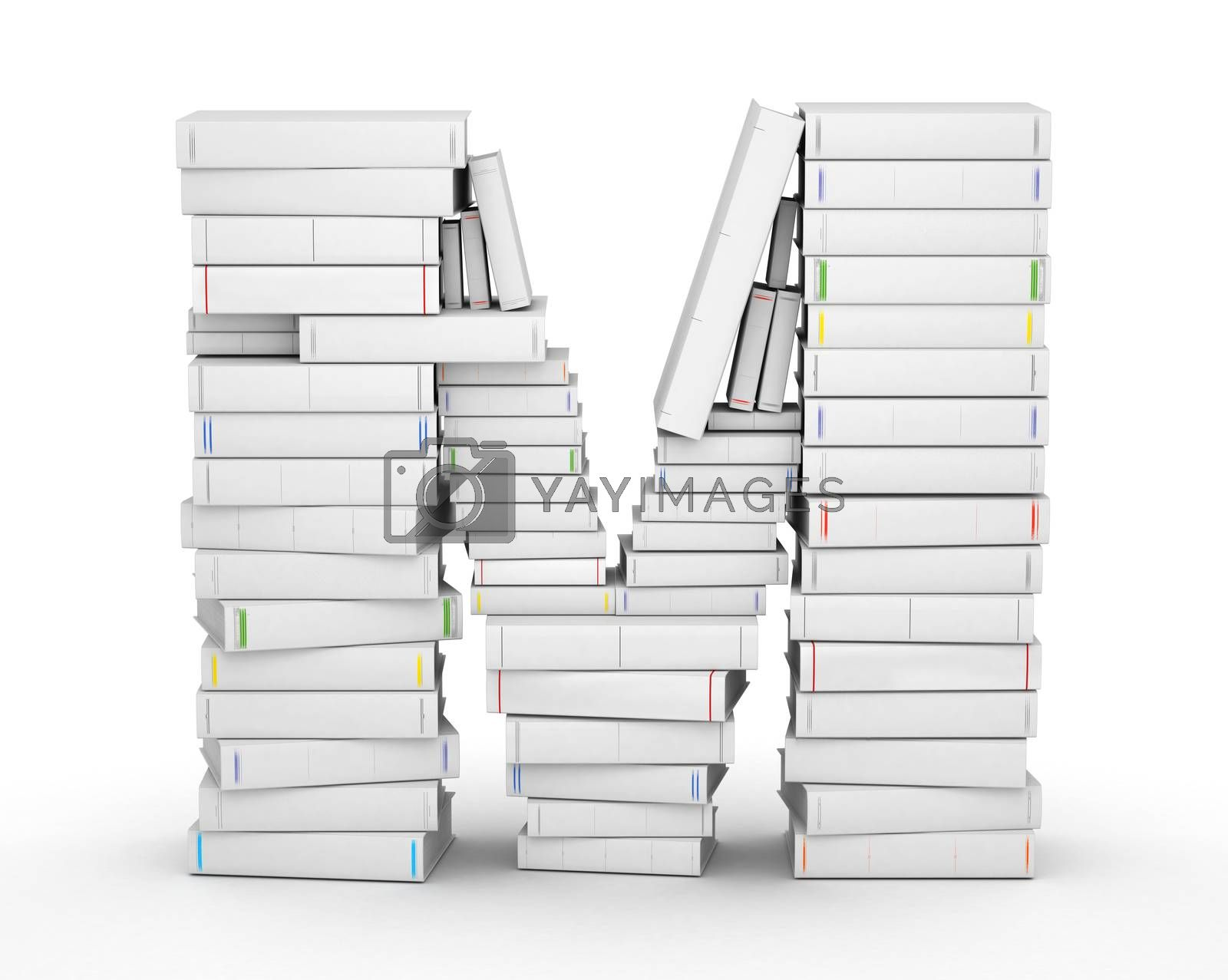 Letter M, stacked from many blank title books in column