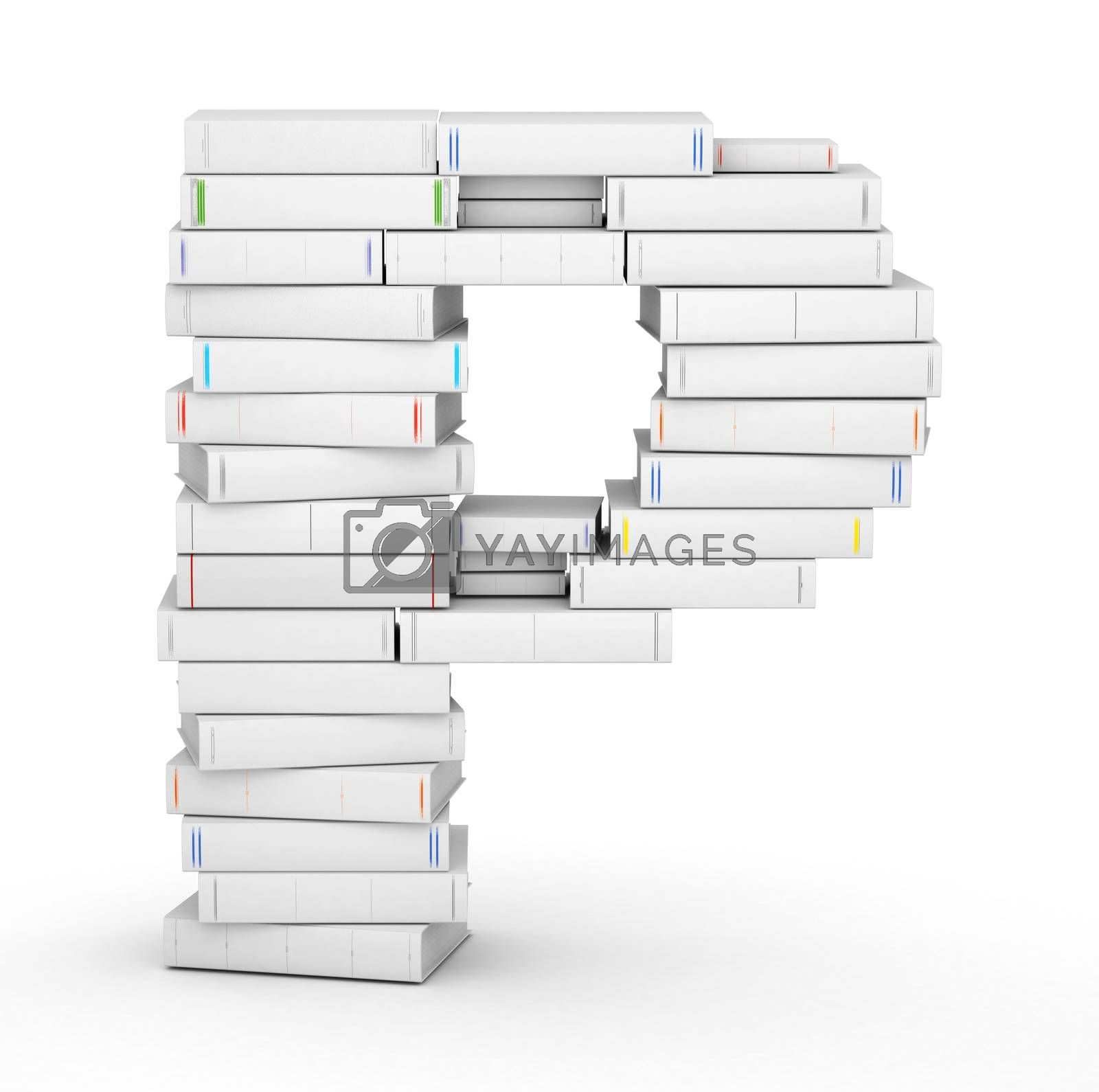 Royalty free image of Letter P, stacked from blank books by iunewind