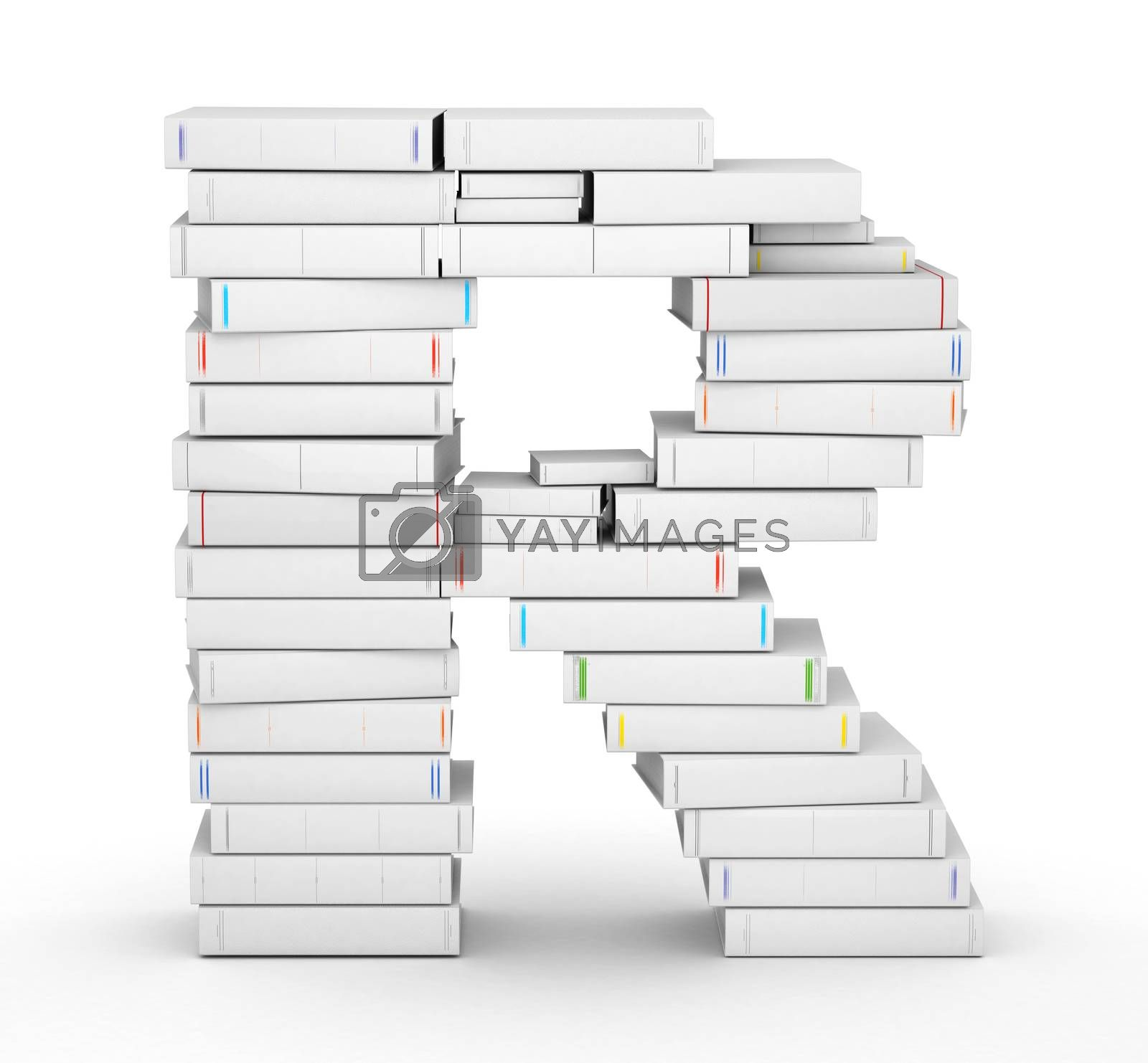 Letter R, stacked from many blank title books in column
