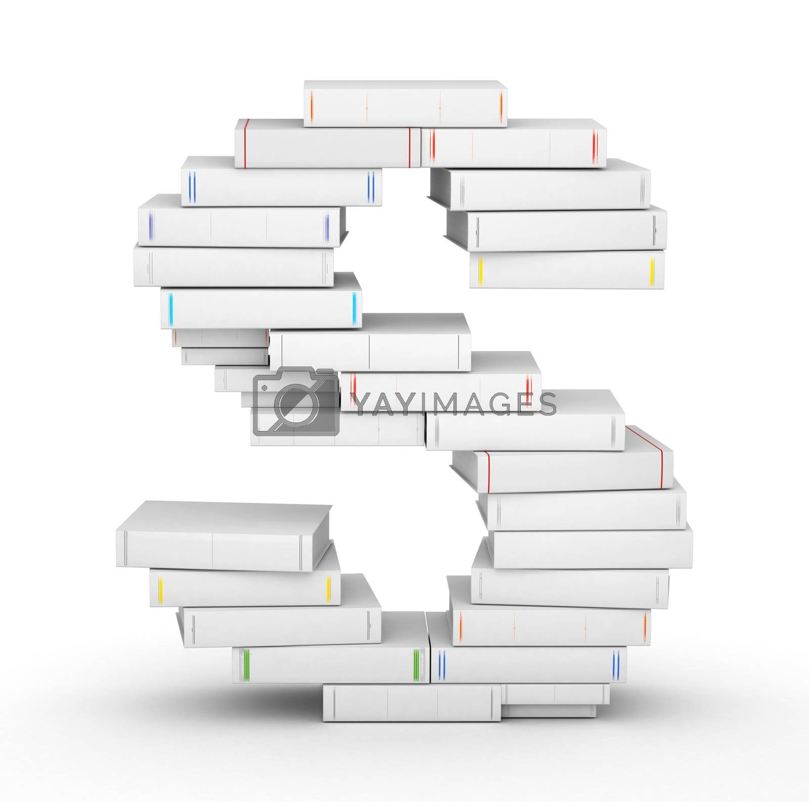 Royalty free image of Letter S, stacked from blank books by iunewind
