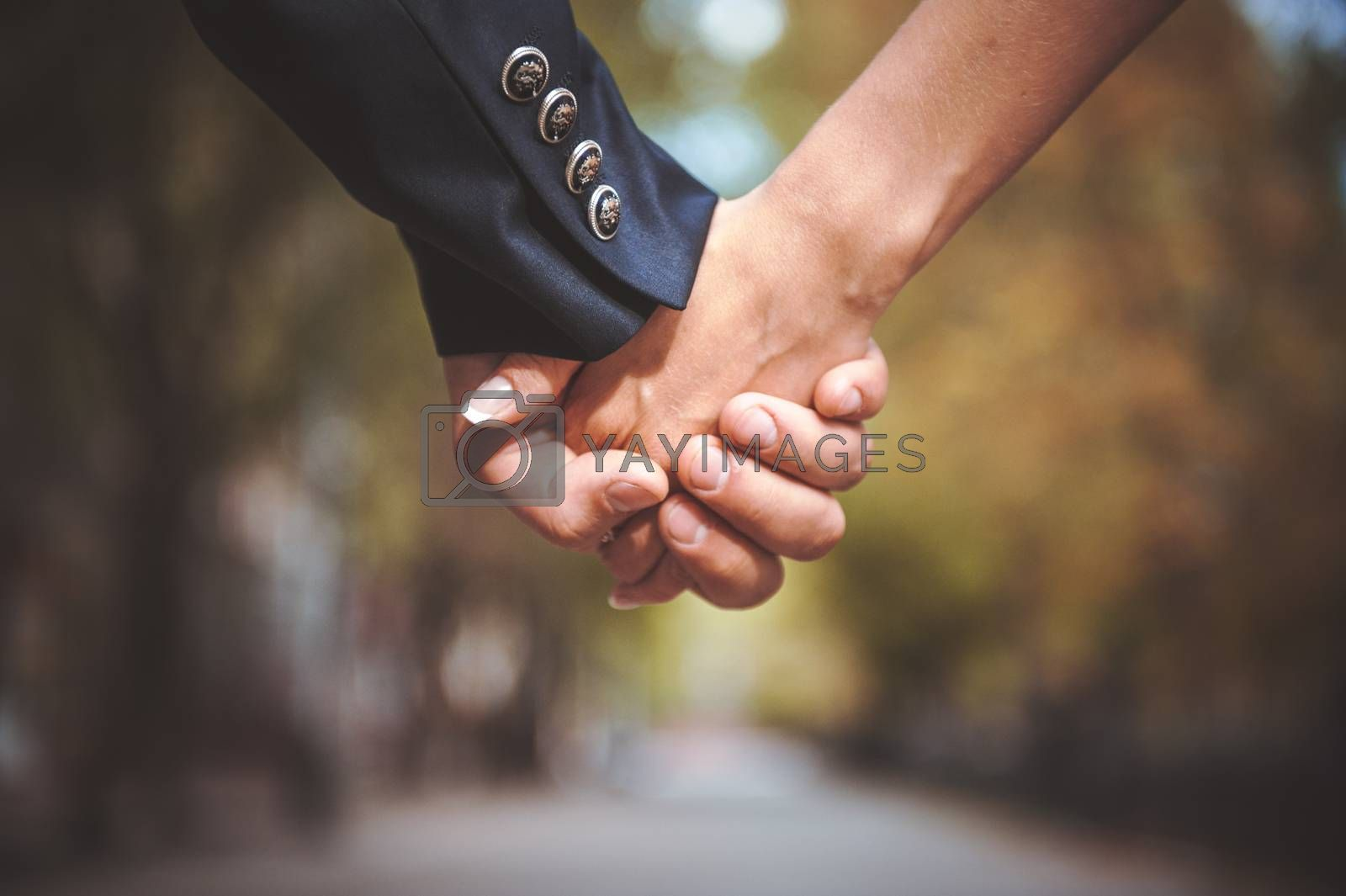 couple holding hand together in park while walking