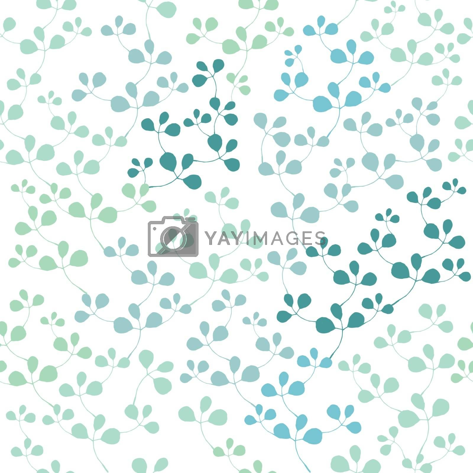 Blue elegant ornament with leafs. Vector image.