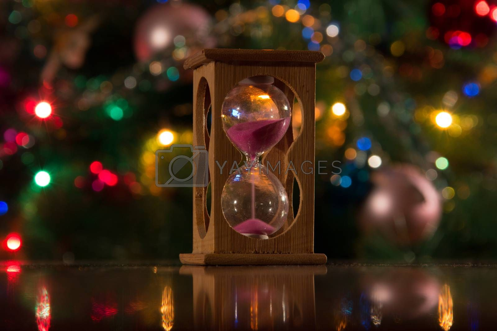 hourglass on table for the new year