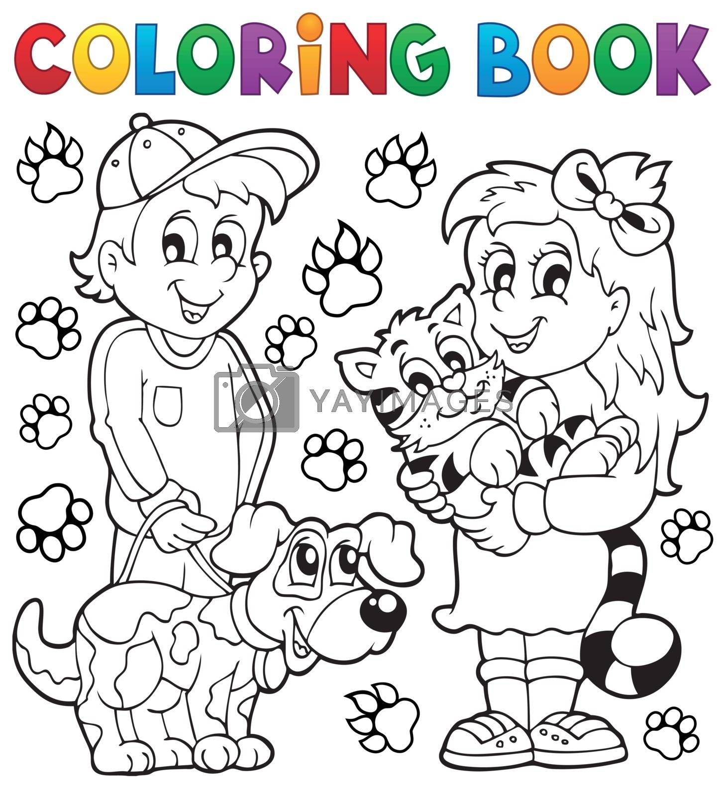 Coloring book children with pets - eps10 vector illustration.