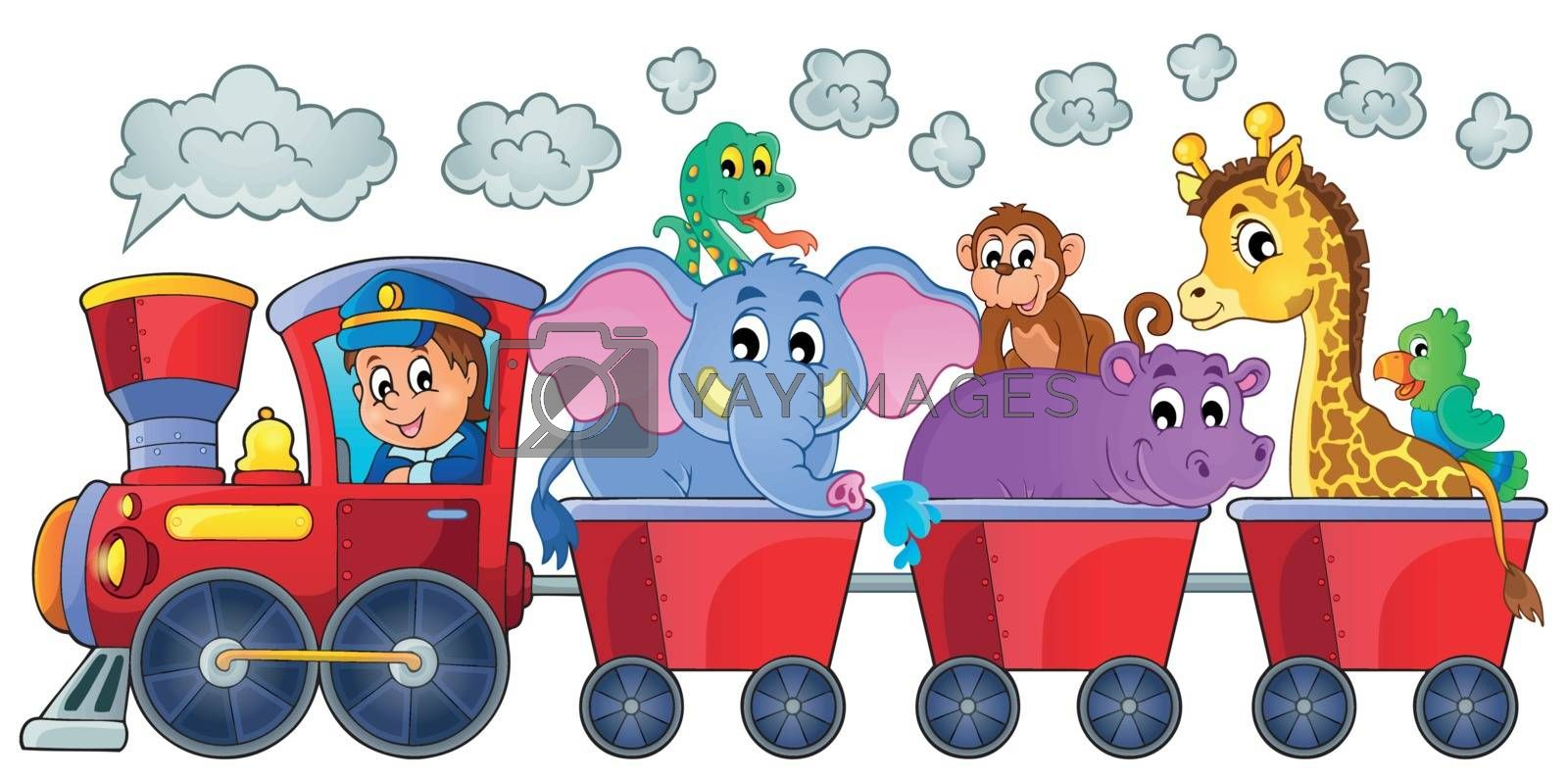 Train with happy animals - eps10 vector illustration.