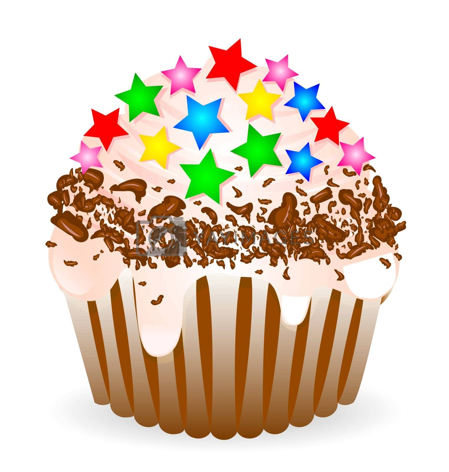 Cake with whipped cream, sprinkled with chocolate chips and decorated with caramel in the form of stars.