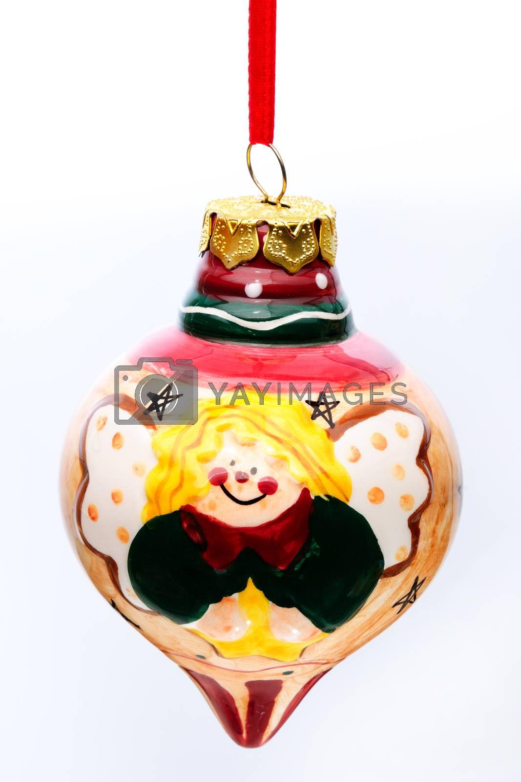 Christmas tree decorations and nativity Christian Catholic isolated on white background.