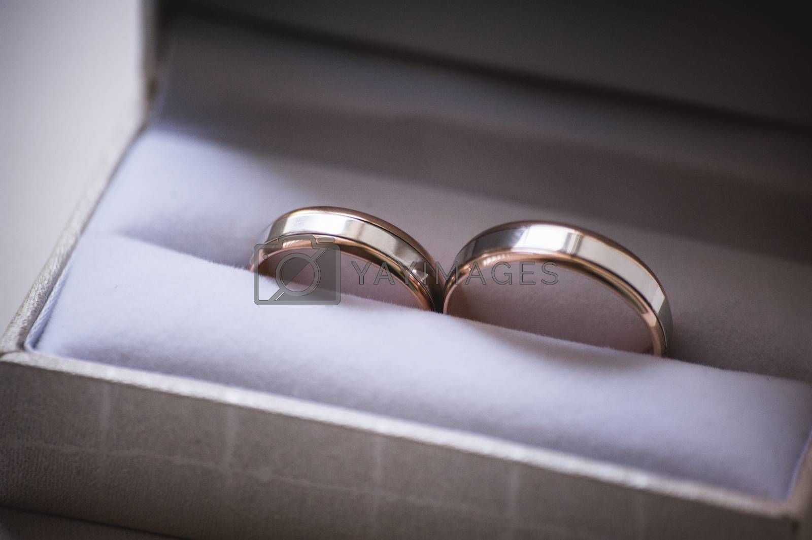 two wedding rings in grey box with bow