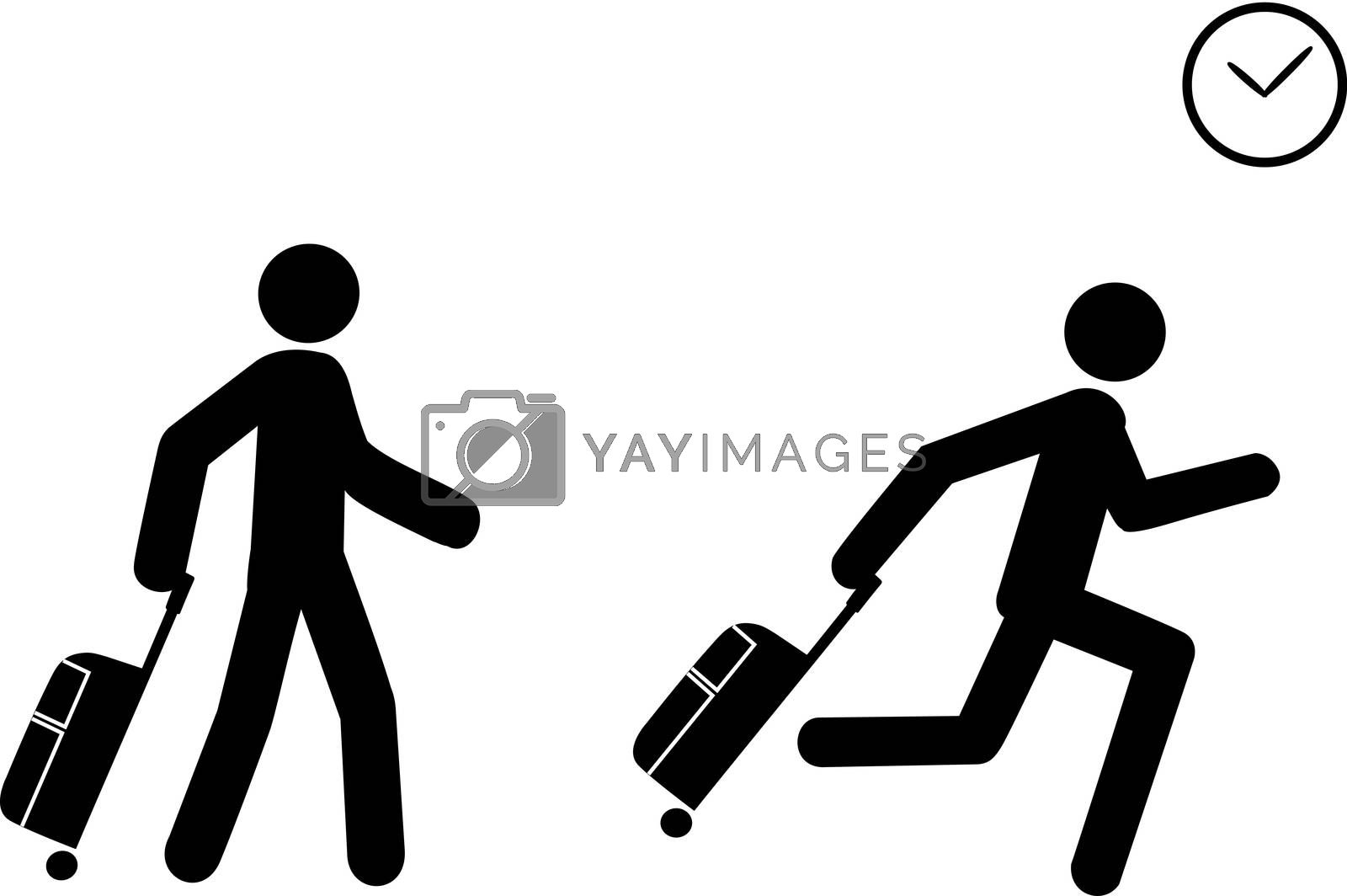 A person depicted as a human representation pushes a travel bag and starts to run as he sees a clock, indicating he is late to board or to check in.