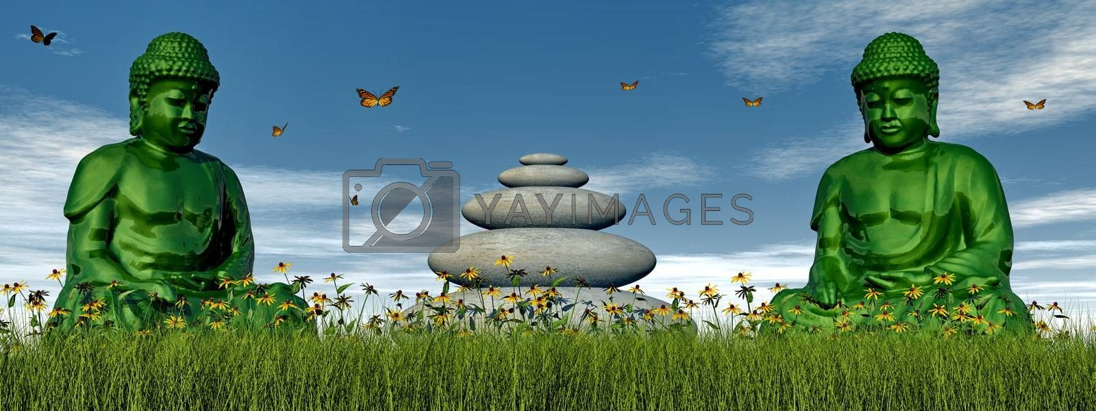 Two green buddhas sitting on the grass in front of balanced pebbles and surrounded with butterflies - 3D render