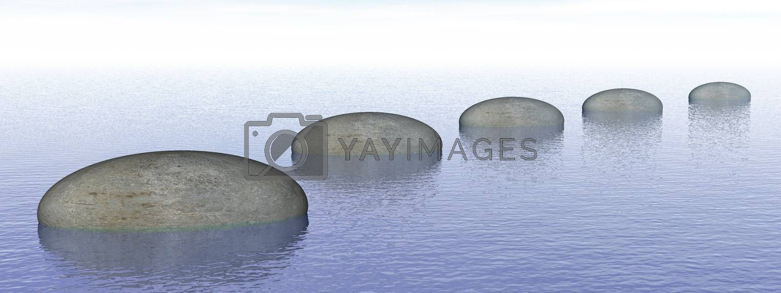 Grey stones steps upon the ocean - 3D render