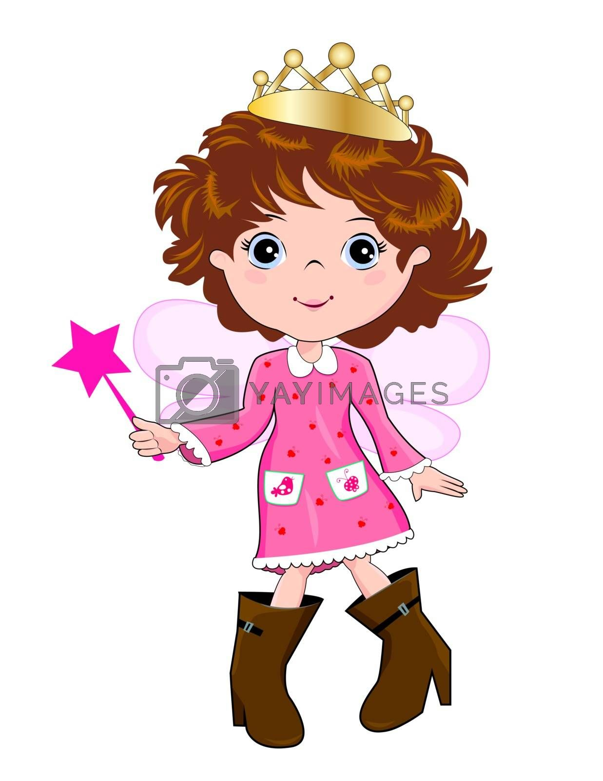 Little girl in a pink dress and high women's boots, walking awkwardly.