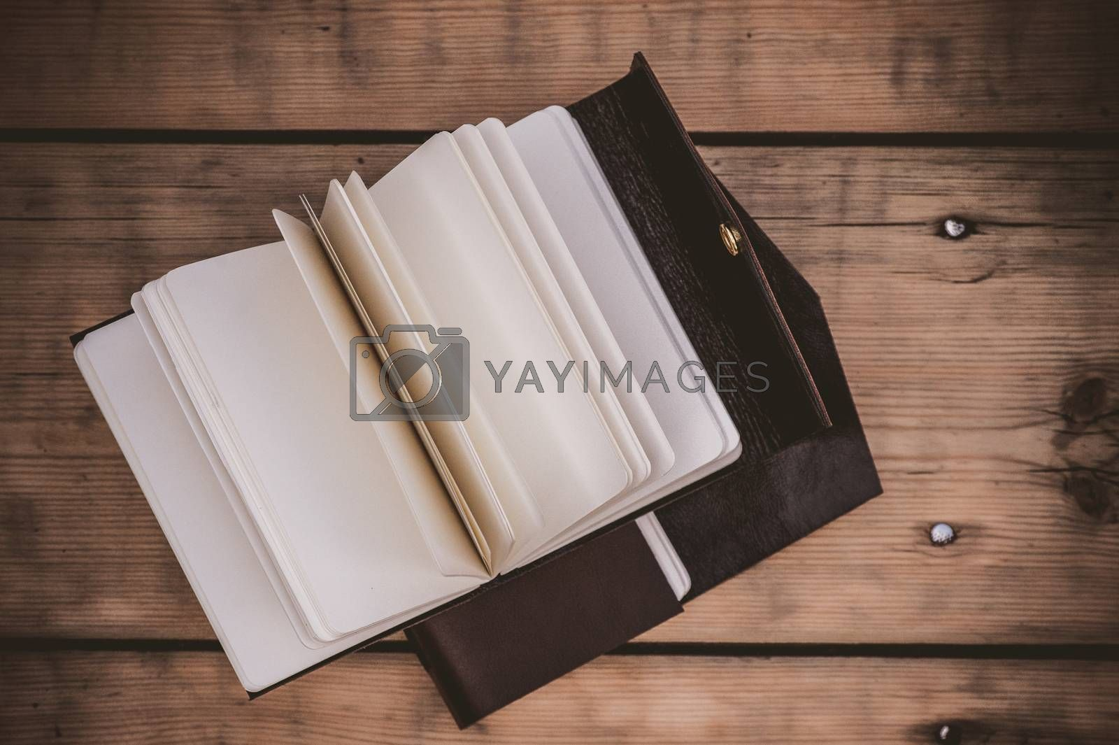 top view on leather notebook with clasp