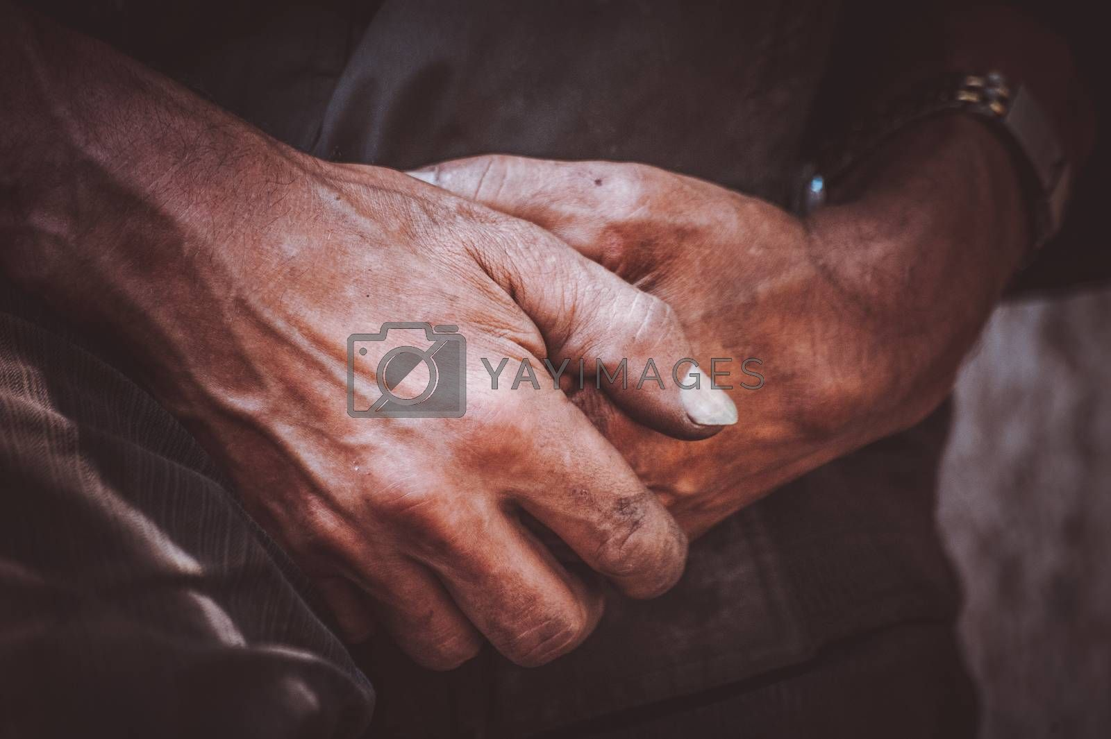 durty hand of miner worker no face