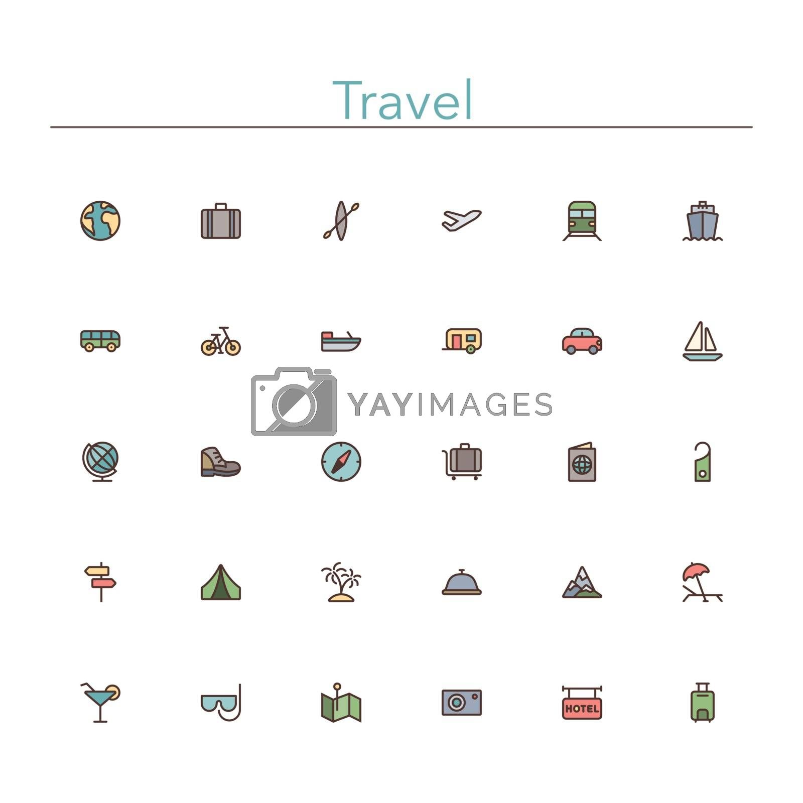 Travel and tourism colored line icons set. Vector illustration.