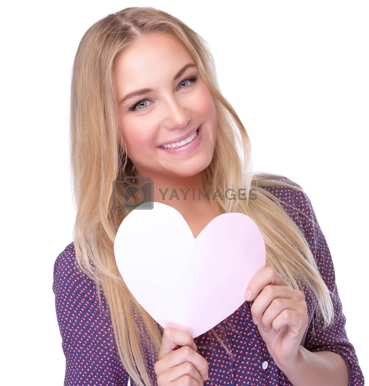 Closeup portrait of cute blond woman with paper heart in hands isolated on white background, health care, cardiology treatment or  love concept