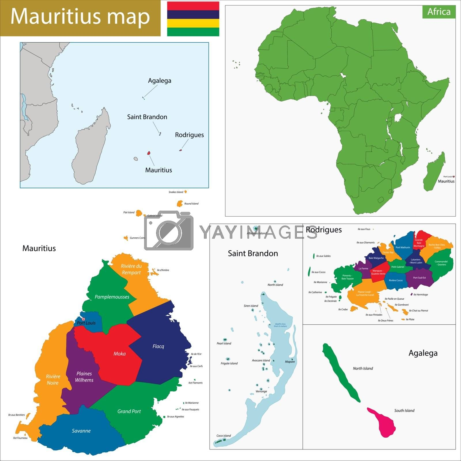 Mauritius map by Volina
