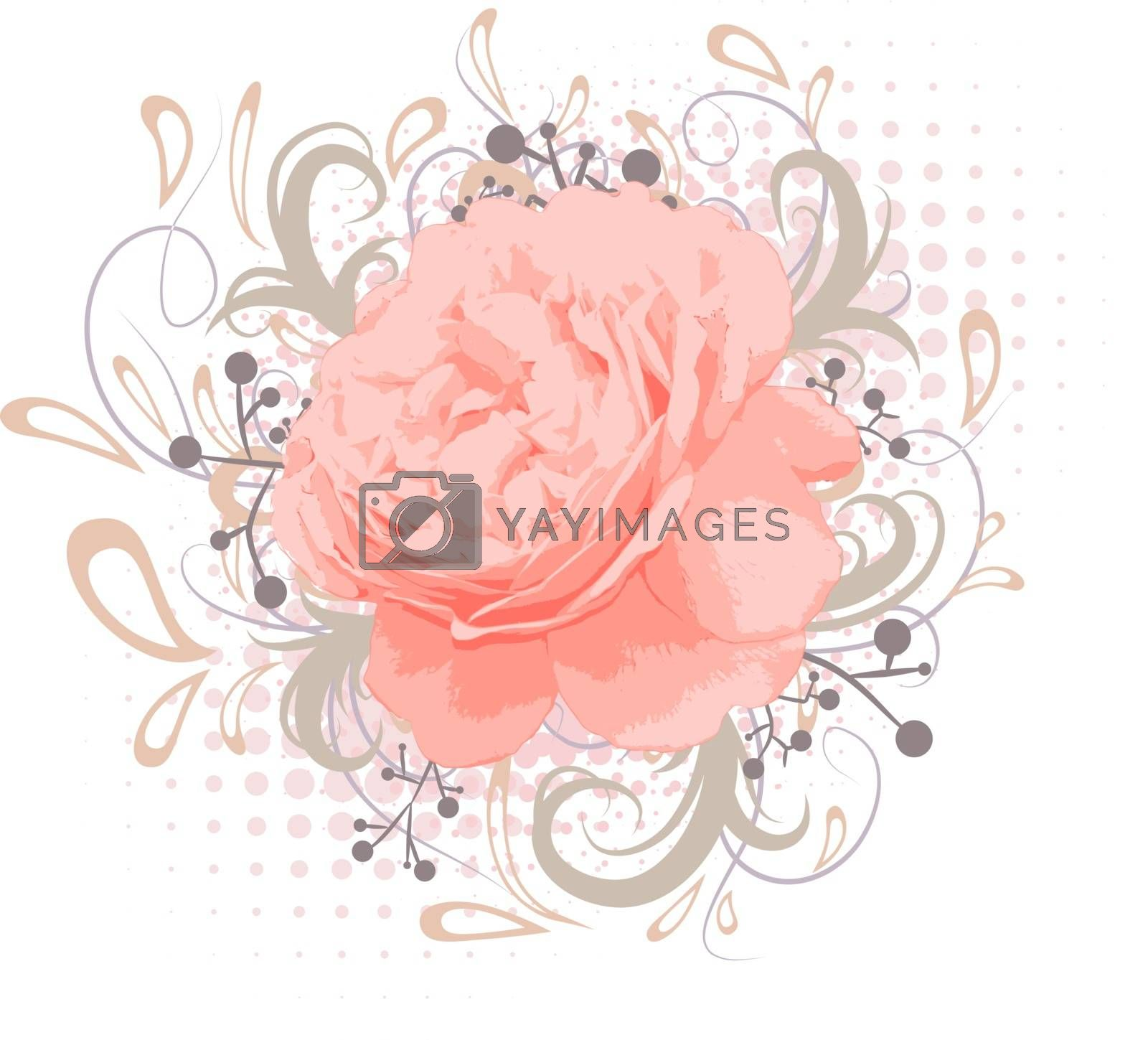 Vintage Abstract Peony Flower With Floral decoration Over White