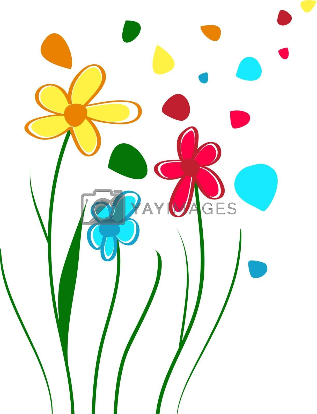 Abstract Children Draw Bright Flowers, Copyspace
