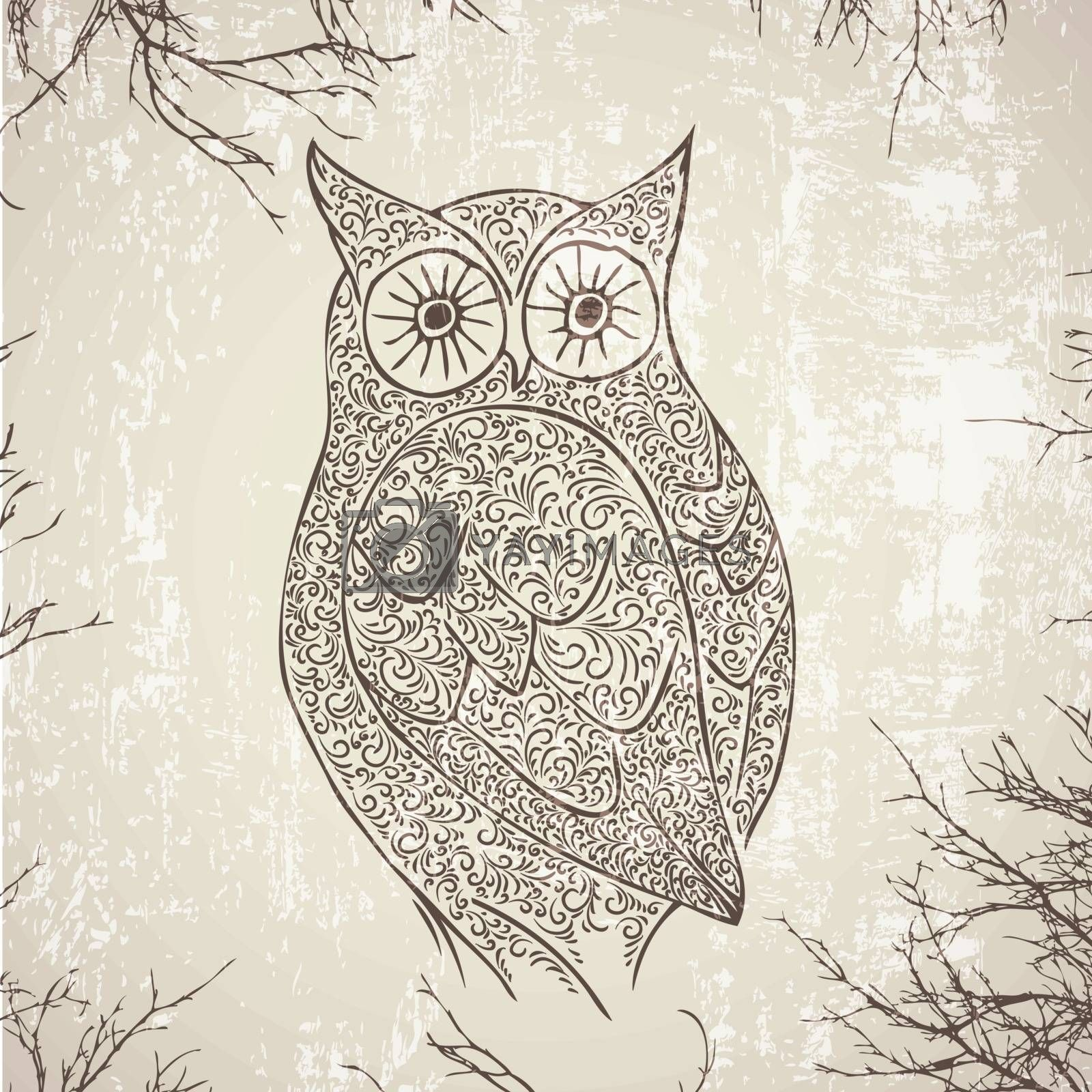 Abstract Vintage Owl Over Grunge Background