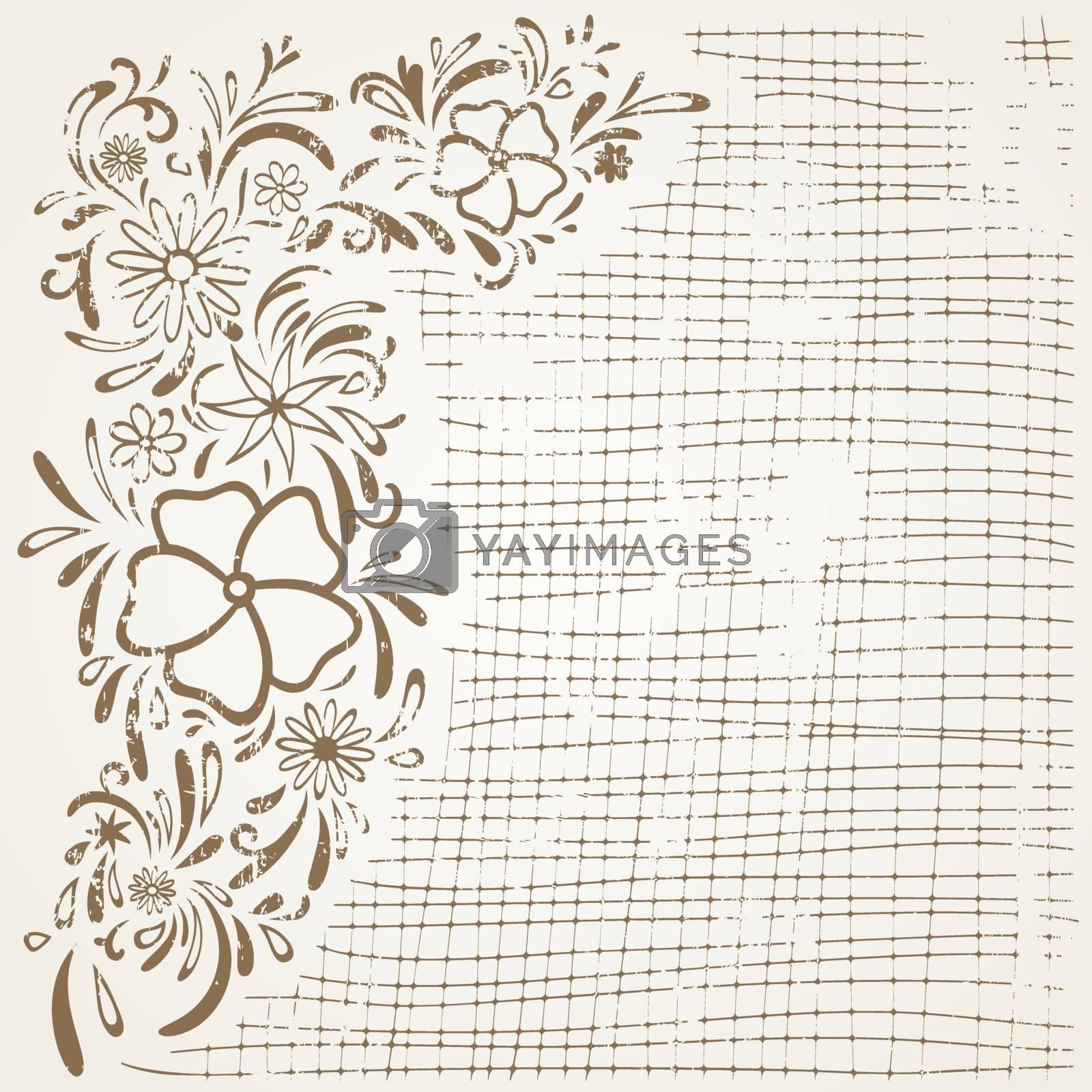 Grunge Vintage Abstract Floral Background
