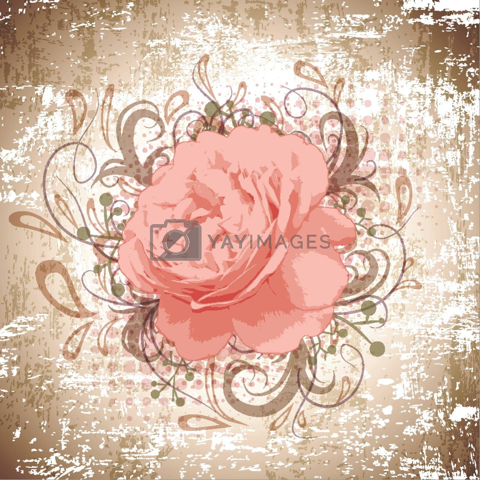 Grunge Background of Vintage Abstract Peony Flower With Floral Decoration